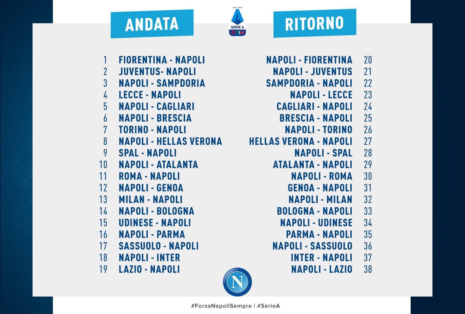 Marigliano Net Sport Calcio Calendario Serie A 2019 Fiorentina Napoli La Prima Juventus Napoli La Seconda